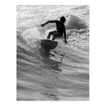 Beach Themed Riding The Wave Grayscale Postcard