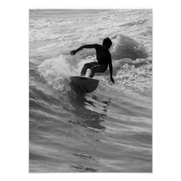 Beach Themed Riding The Wave Grayscale Poster