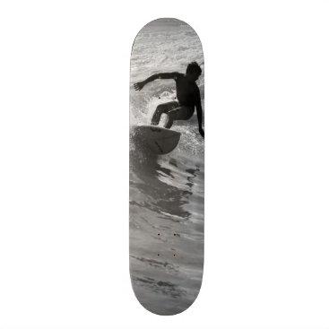 Beach Themed Riding The Wave Grayscale Skateboard Deck