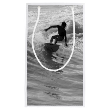 Beach Themed Riding The Wave Grayscale Small Gift Bag