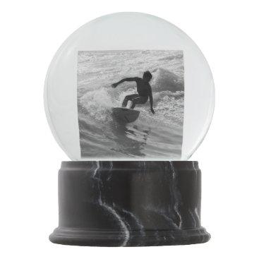Beach Themed Riding The Wave Grayscale Snow Globe