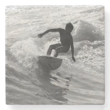 Beach Themed Riding The Wave Grayscale Stone Coaster