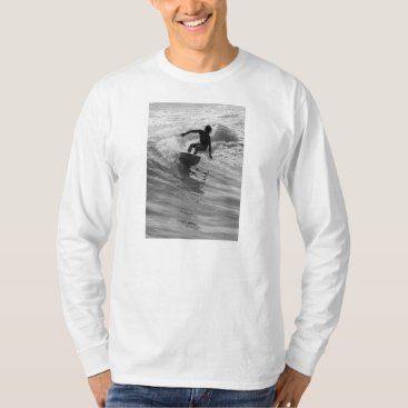 Beach Themed Riding The Wave Grayscale T-Shirt