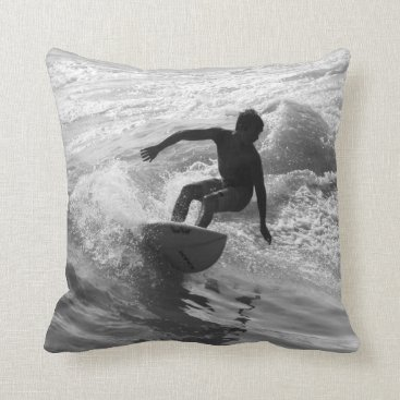 Beach Themed Riding The Wave Grayscale Throw Pillow