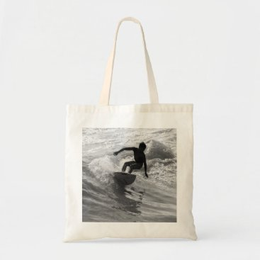 Beach Themed Riding The Wave Grayscale Tote Bag