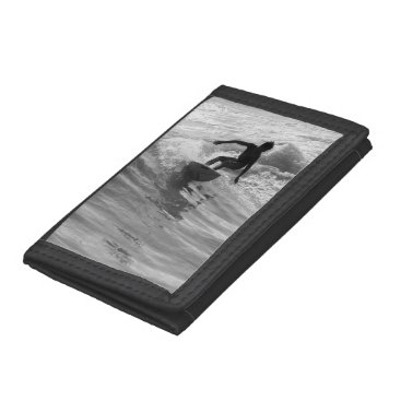 Beach Themed Riding The Wave Grayscale Trifold Wallets