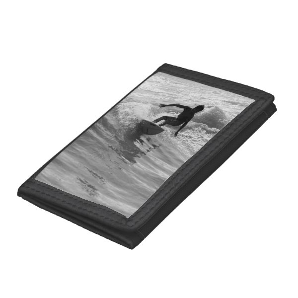 Riding The Wave Grayscale Trifold Wallets