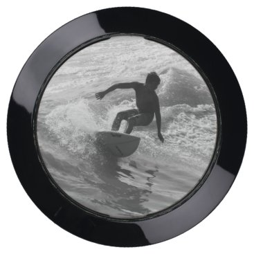 Beach Themed Riding The Wave Grayscale USB Charging Station