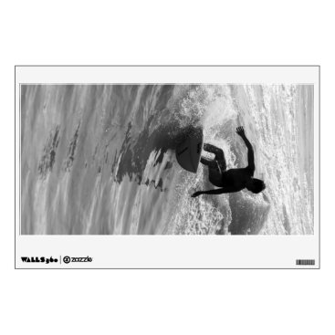 Beach Themed Riding The Wave Grayscale Wall Decal