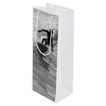 Beach Themed Riding The Wave Grayscale Wine Gift Bag