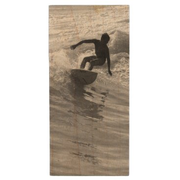 Beach Themed Riding The Wave Grayscale Wood USB Flash Drive
