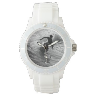 Beach Themed Riding The Wave Grayscale Wrist Watch