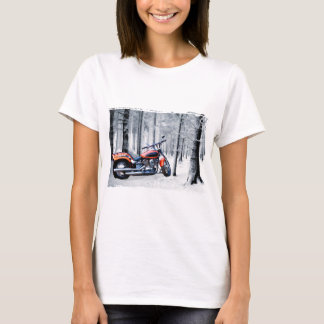 Riding Through Woods on a Snowy Day T-Shirt