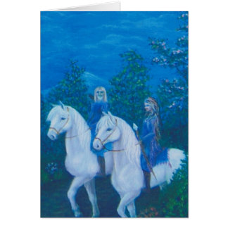 Riding throught the woods greeting card