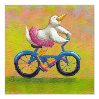 Riding to the Recital - fun ballet bird bike art 5.25x5.25 Square Paper Invitation Card