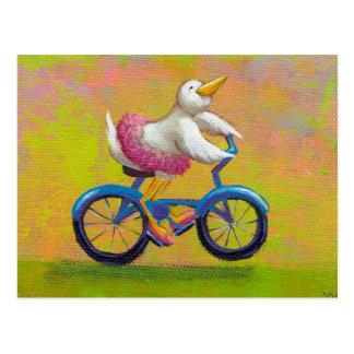 Riding to the Recital - fun happy bicycling bird Postcard