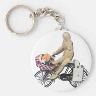 RidingBikeBasketFood082611 Basic Round Button Keychain