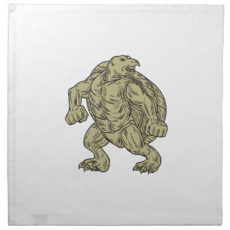 Ridley Sea Turtle Martial Arts Stance Drawing Cloth Napkin