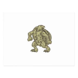 Ridley Sea Turtle Martial Arts Stance Drawing Postcard