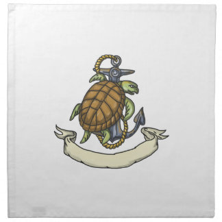 Ridley Sea Turtle on Anchor Drawing Cloth Napkin