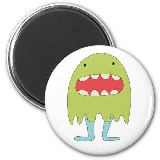 Ríe del verde del monstruo del EL =) Imán Redondo 5 Cm