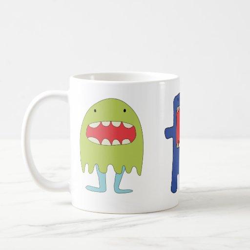 Ríe del verde del monstruo del EL =) Taza De Café