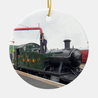 Riego de una locomotora de vapor adorno redondo de cerámica