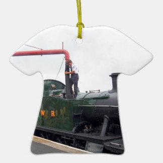Riego de una locomotora de vapor adorno de cerámica en forma de camiseta