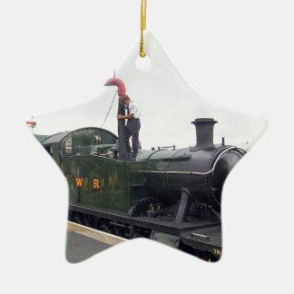 Riego de una locomotora adorno de cerámica en forma de estrella