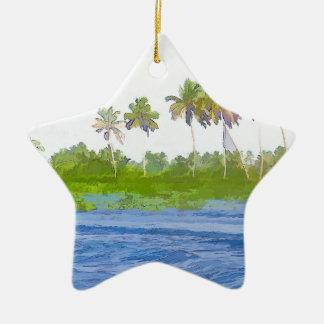 Riegue la ondulación en una laguna del remanso en adorno de cerámica en forma de estrella
