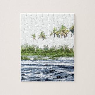 Riegue la ondulación en una laguna del remanso en rompecabezas con fotos