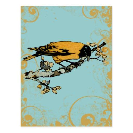 Rielaboration del ejemplo amarillo del pájaro del postal