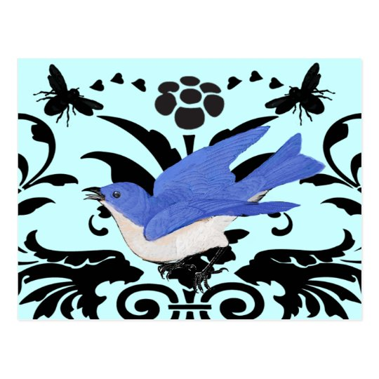 Rielaboration of Vintage Bluebird Illustration Postcard