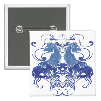 Rielaboration of Vintage Lions with Swirls 2 Inch Square Button