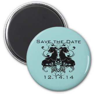 Rielaboration of Vintage Lions with Swirls 2 Inch Round Magnet