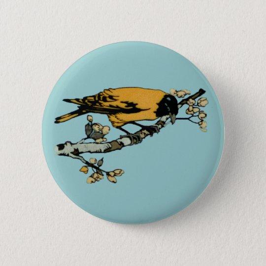 Rielaboration of Yellow Vintage Bird Illustration Button