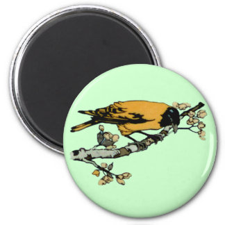 Rielaboration of Yellow Vintage Bird Illustration Magnet