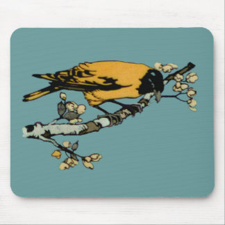 Rielaboration of Yellow Vintage Bird Illustration Mouse Pad