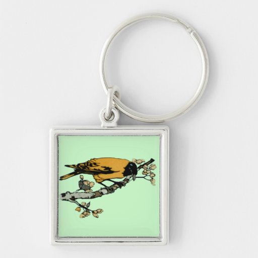Rielaboration of Yellow Vintage Bird Illustration Silver-Colored Square Keychain