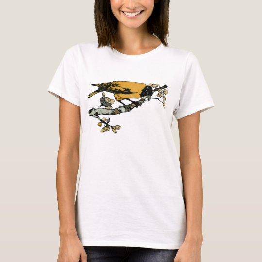 Rielaboration of Yellow Vintage Bird Illustration T-Shirt
