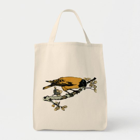 Rielaboration of Yellow Vintage Bird Illustration Tote Bag