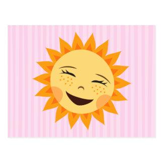 Riendo, postal linda del dibujo animado del sol fe