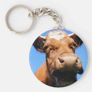 Riendo vaca llaveros personalizados