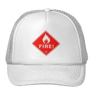 Riesgo de incendios rojo de la señal de peligro de gorro de camionero