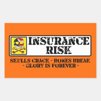 Riesgo del seguro - grieta de los cráneos - rotura rectangular pegatinas