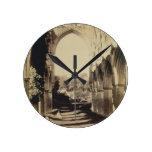 Rievaulx Abbey, North Yorkshire, 1854 (sepia photo Round Wall Clock