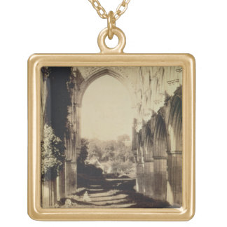 Rievaulx Abbey, North Yorkshire, 1854 (sepia photo Gold Plated Necklace