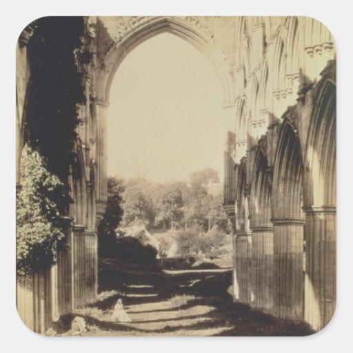 Rievaulx Abbey, North Yorkshire, 1854 (sepia photo Square Sticker