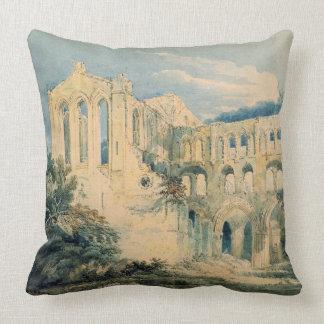 Rievaulx Abbey, Yorkshire, 1798 (w/c) Throw Pillow