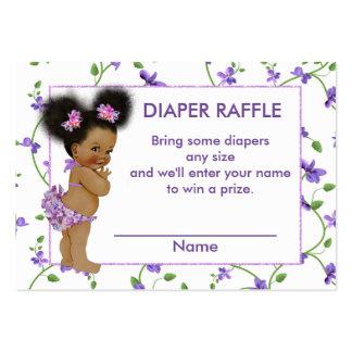 Rifa afroamericana del pañal de la niña tarjetas de visita grandes